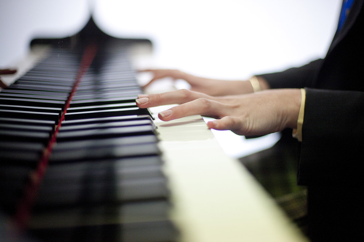 Music Class student playing piano