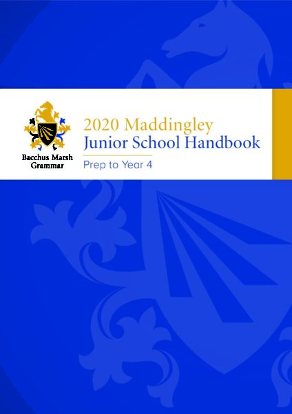 2020 Maddingley Junior School Handbook (Prep to Year 4)